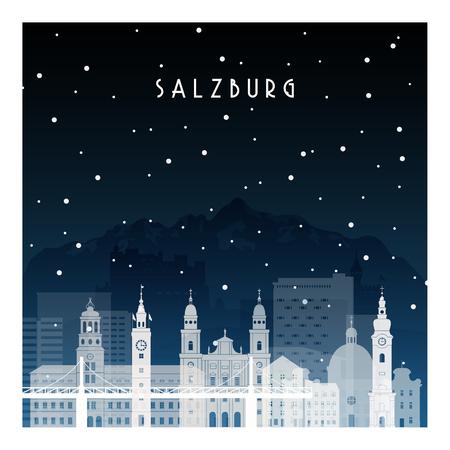 Nuit d'hiver à Salzbourg. Ville de nuit dans un style plat pour bannière, affiche, illustration, arrière-plan.