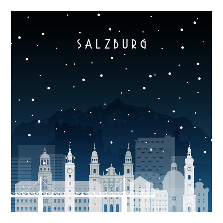 Winter night in Salzburg. Night city in flat style for banner, poster, illustration, background. Illustration