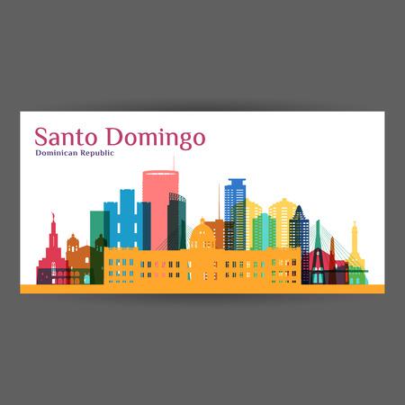 Santo Domingo Stadtarchitektur Silhouette. Bunte Skyline. Stadtwohnungsdesign. Vektor Visitenkarte.