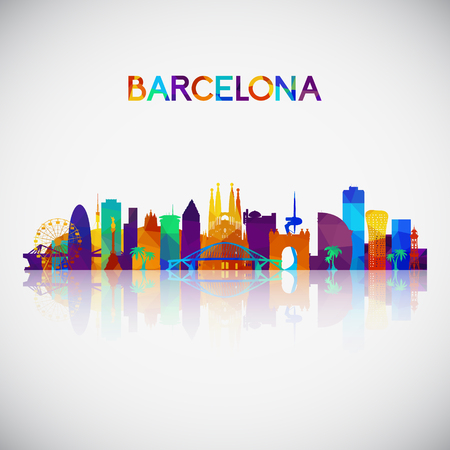 Barcelona skyline silhouette in colorful geometric style. Symbol for your design. Vector illustration. 向量圖像