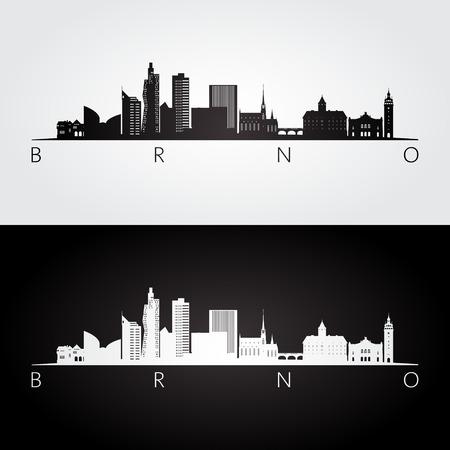 Brno skyline and landmarks silhouette, black and white design, vector illustration.