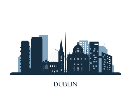 Dublin skyline, monochrome silhouette. Vector illustration.
