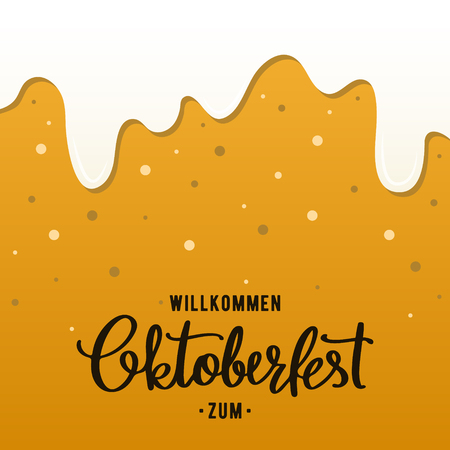 Oktoberfest flyer design template. Beer background with foam and bubbles. Vector illustration. Illustration