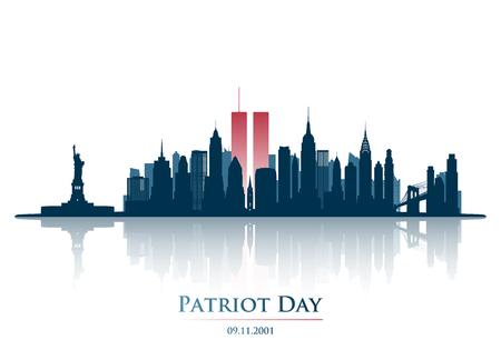 Torres gemelas en el horizonte de la ciudad de Nueva York. World Trade Center. 11 de septiembre de 2001 Día Nacional del Recuerdo. Banner de aniversario del día del patriota. Ilustración vectorial.