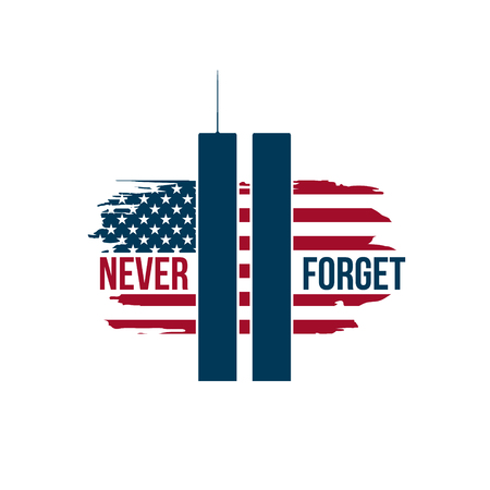 911 Patriot Day card with Twin Towers on american flag. USA Patriot Day banner. September 11, 2001. Never forget. World Trade Center.Vector design template for Patriot Day.