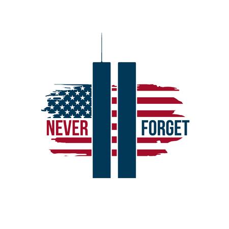 9/11 Patriot Day-kaart met Twin Towers op Amerikaanse vlag. USA patriot dag banner. 11 september 2001. Nooit vergeten. World Trade Center. Vector ontwerpsjabloon voor patriot dag. Vector Illustratie