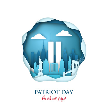 911 Patriot Day paper art card with Twin Towers in New York skyline. World Trade Center. USA Patriot Day banner. September 11, 2001. Never forget. Vector design template for Patriot Day. Illustration