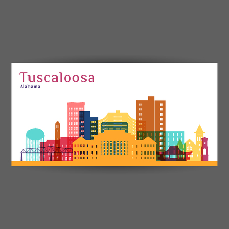 Tuscaloosa city architecture silhouette. Colorful skyline. City flat design. Vector business card. Illustration