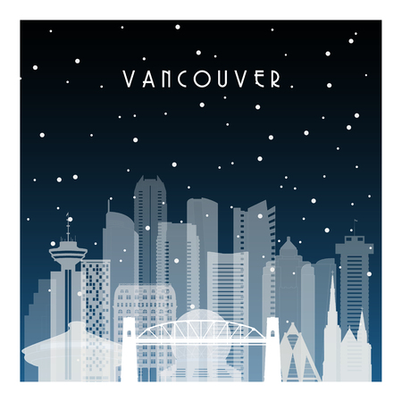 Winter night in Vancouver. Night city in flat style for banner, poster, illustration, background.