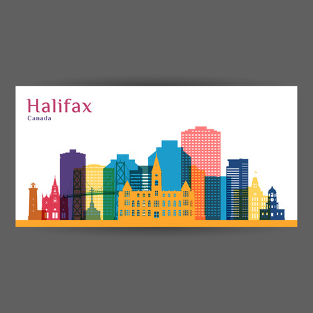 Halifax city architecture silhouette. Colorful skyline. City flat design. Vector business card.