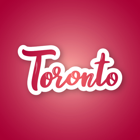 Toronto - handwritten name of the Kanadian city . Sticker with lettering in paper cut style. Vector design template.  イラスト・ベクター素材