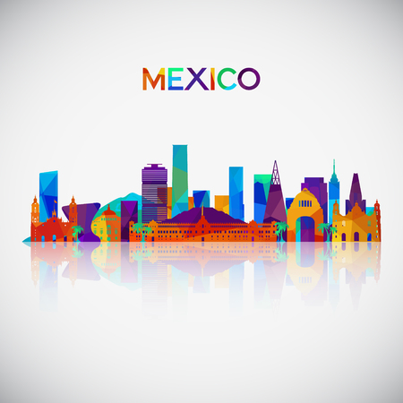 Mexico skyline silhouette in colorful geometric style. Symbol for your design. Vector illustration.