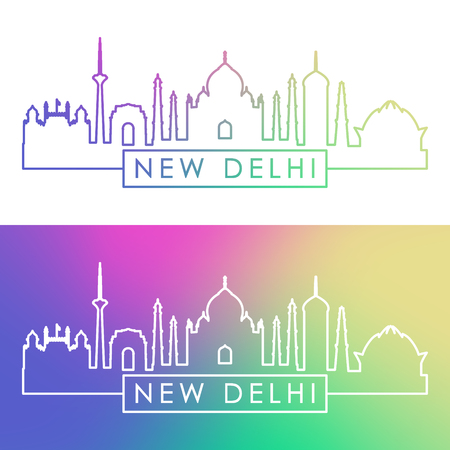 New Delhi skyline. Colorful linear style. Editable vector file.