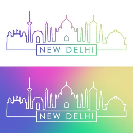 New Delhi skyline. Colorful linear style. Editable vector file.