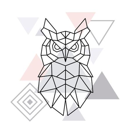 Polygonal Owl on minimalist triangle background. Geometric poster. Vector design template. Vector Illustration