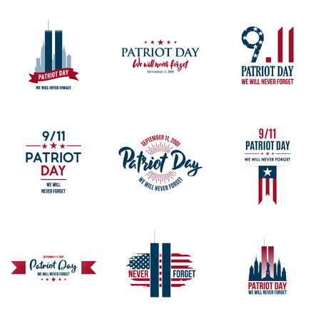 Set of various Patriot Day graphics, cards and banners, emblems, symbols, icons and badges. USA patriotic illustrations for September 11 anniversary. American Patriot Day Vector templates.