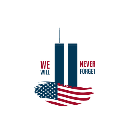 9/11 Patriot Day card with Twin Towers on american flag and phrase We will never forget. USA Patriot Day banner. September 11, 2001. World Trade Center. Vector design template.