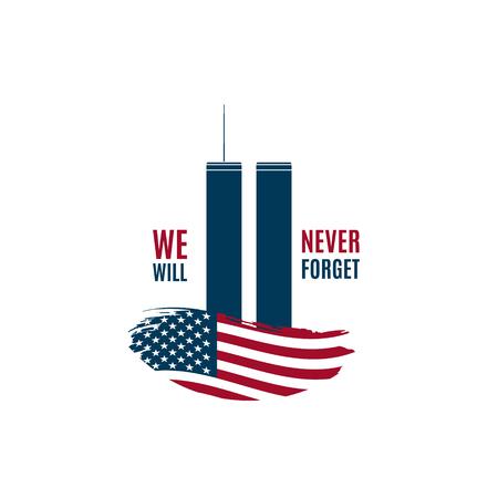 Carte 9/11 Patriot Day avec Twin Towers sur drapeau américain et phrase que nous n'oublierons jamais. Bannière USA Patriot Day. 11 septembre 2001. World Trade Center. Modèle de conception de vecteur. Vecteurs