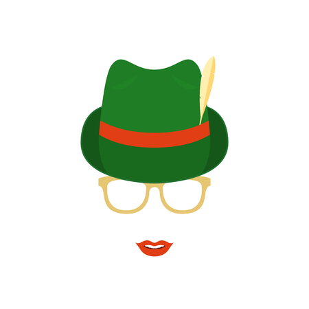 Cute girl in glasses and green traditional german hat. Woman vector illustration isolated on white background. Ilustração