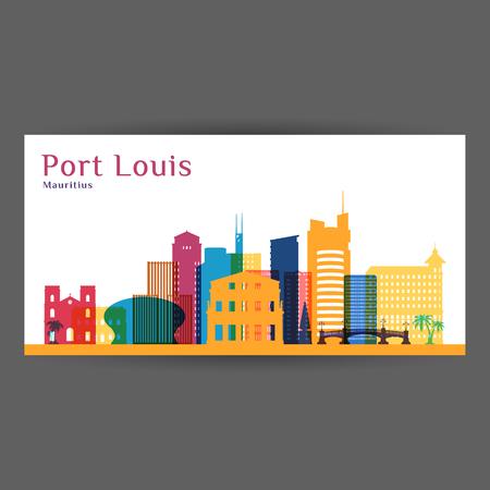 Port Louis city architecture silhouette. Colorful skyline. City flat design. Vector business card.