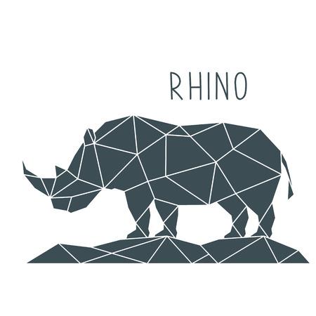 Ilustracja wielokąta nosorożca. Geometryczny plakat z dzikim zwierzęciem i napisem. Szablon projektu wektor.