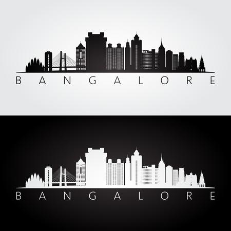 Bangalore skyline and landmarks silhouette, black and white design, vector illustration.
