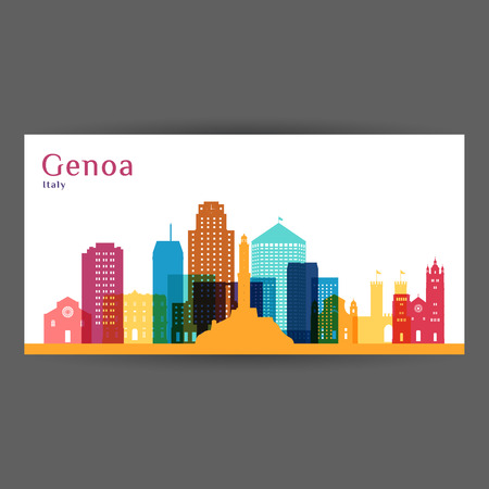 Genoa city architecture silhouette. Colorful skyline. City flat design. Vector business card.