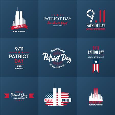 Patriot Day ontwerpsjabloon collectie. 11 september 2001. Poster, kaarten, spandoeken en vector clipart. Vector Illustratie