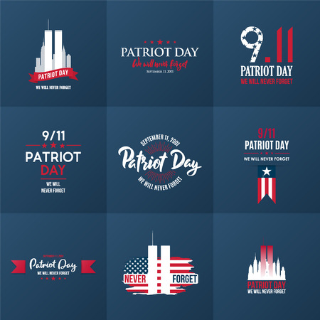 Patriot Day design template collection. September 11. 2001. Poster, cards, banners and vector clipart.