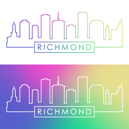 Richmond skyline. Colorful linear style. Editable vector file.