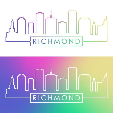 Richmond skyline. Colorful linear style. Editable vector file.