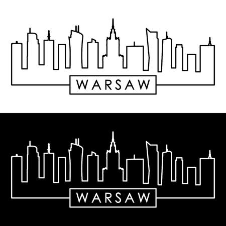 Skyline van Warschau. Lineaire stijl. Bewerkbaar vectorbestand.