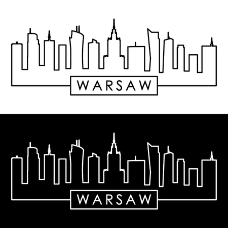 Warsaw skyline. Linear style. Editable vector file. 写真素材 - 107598758