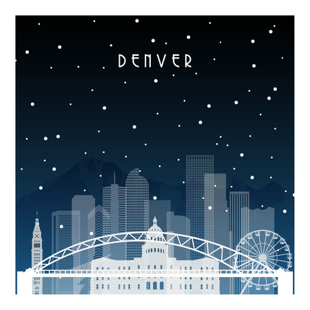 Winter night in Denver. Night city in flat style for banner, poster, illustration, background. Illustration