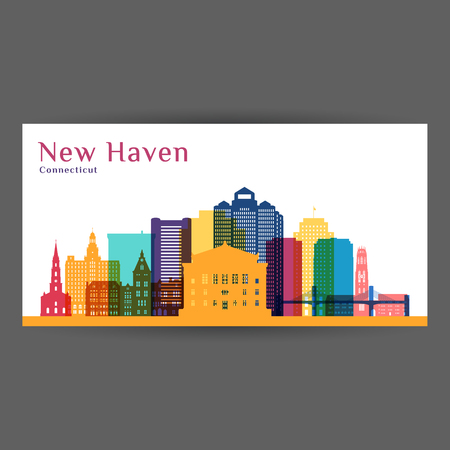 New Haven city architecture silhouette. Colorful skyline. City flat design. Vector business card.