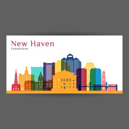 Silhouette d'architecture de la ville de New Haven. Skyline colorée. Design plat de la ville. Carte de visite de vecteur. Vecteurs
