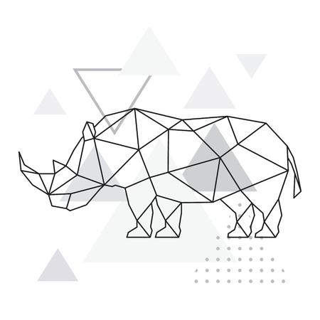 Polygonales Nashorn auf abstraktem Hintergrund mit Dreiecken. Poster im geometrischen Stil. Wildtiervektorillustration.