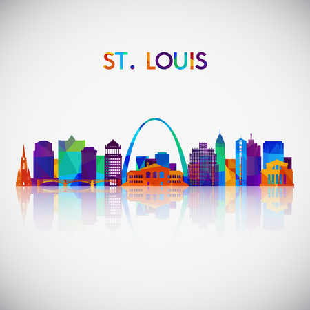 St.Louis skyline silhouette in colorful geometric style. Symbol for your design. Vector illustration. 版權商用圖片 - 107677841