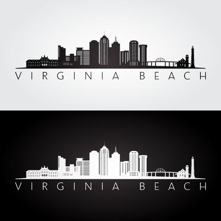 Virginia Beach, USA silhouette d'horizon et de points de repère, design noir et blanc, illustration vectorielle. Vecteurs