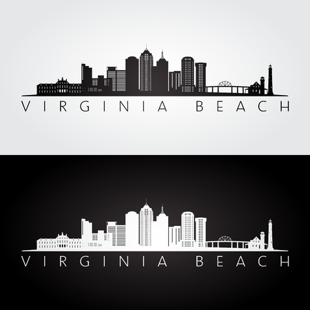 Virginia Beach, USA skyline and landmarks silhouette, black and white design, vector illustration. 向量圖像