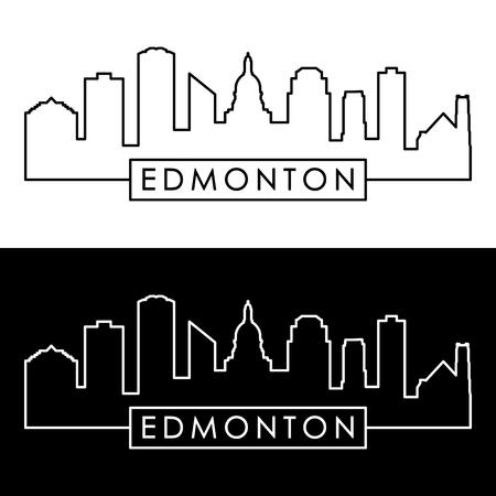 Edmonton skyline. Linear style. Editable vector file.