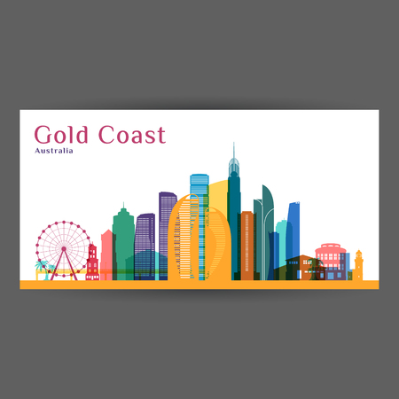 Gold Coast city architecture silhouette. Colorful skyline. City flat design. Vector business card.