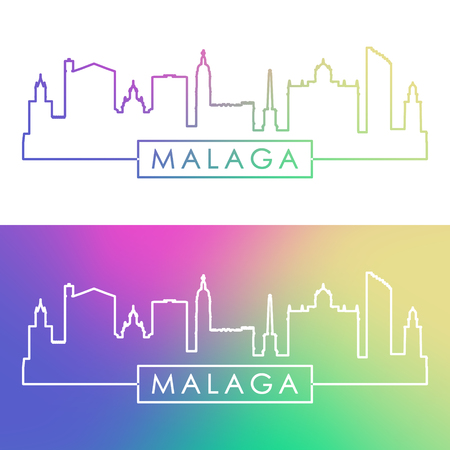 Malaga skyline. Colorful linear style. Editable vector file.