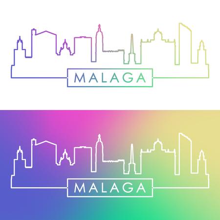 Malaga skyline. Colorful linear style. Editable vector file.