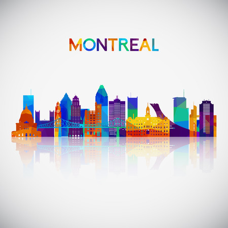 Montreal skyline silhouette in colorful geometric style. Symbol for your design. Vector illustration.