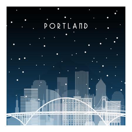 Winternacht in Portland. Nachtstadt im flachen Stil für Banner, Poster, Illustration, Hintergrund.