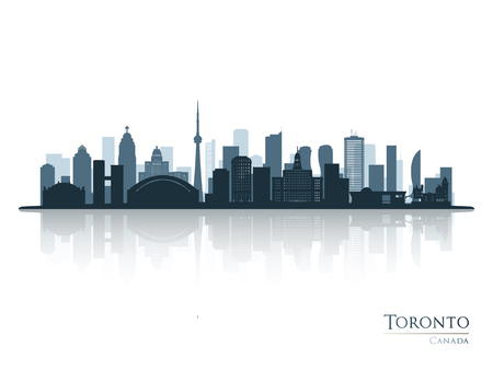 Toronto blue skyline silhouette with reflection. Vector illustration. Ilustração