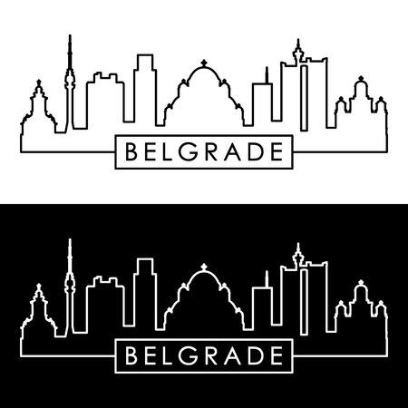 Belgrade skyline. Linear style. Editable vector file.
