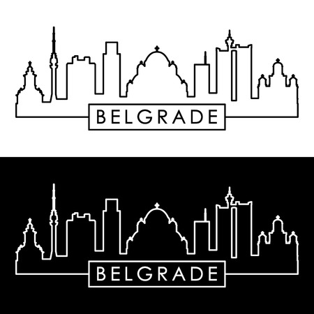 Belgrade skyline. Linear style. Editable vector file.