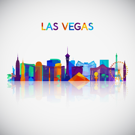 Las Vegas skyline silhouette in colorful geometric style. Symbol for your design. Vector illustration.